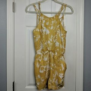 RVCA yellow and white print romper with pockets
